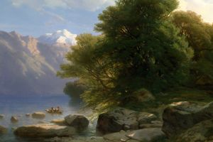 boat classic art trees river painting rock
