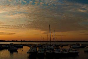 boat clouds horizon landscape sky