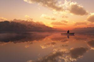 boat landscape sunset water
