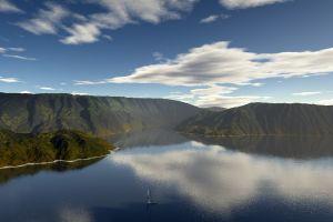 boat reflection earth landscape sky reflection