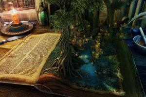 books artwork fantasy art trees candles