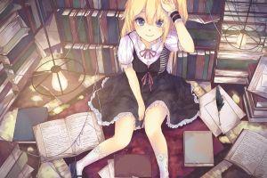 books original characters anime library dress anime girls blonde blue eyes room socks