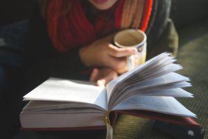 books women scarf mugs depth of field mug