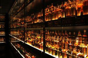 bottles scotch alcohol shelves