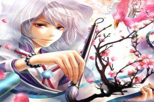 bracelets brush anime anime girls birds fantasy girl animals flowers