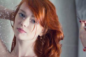 bracelets model women blue eyes redhead face pornstar