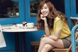 bracelets sitting model jessica jung wavy hair smiling korean redhead cake long hair women cafeteria  asian k-pop