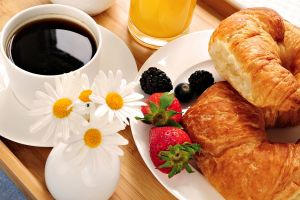 breakfast food bread strawberries flowers coffee