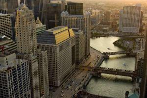 bridge cityscape chicago river building