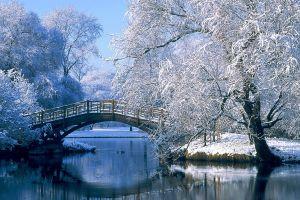 bridge lake landscape winter nature snow
