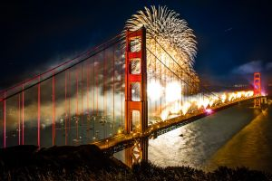 bridge night golden gate bridge hdr fireworks