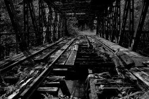 bridge ruin outdoors monochrome dark wood