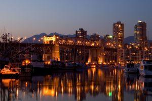 bridge vancouver city lights harbor boat