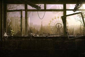 broken glass abandoned ferris wheel ruins pripyat chernobyl apocalyptic sunlight artwork