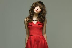 brown eyes looking at viewer curly hair red dress women brunette demi lovato gray background dress necklace