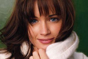 brunette alexis bledel face women closeup sweater white sweater blue eyes smiling