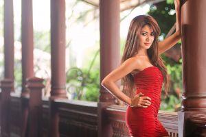 brunette asian hands on hips women black eyes bare shoulders red dress