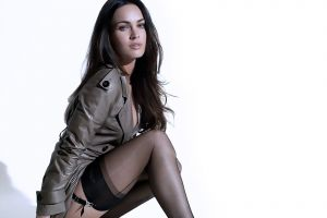 brunette celebrity trench coat nylons women megan fox coats