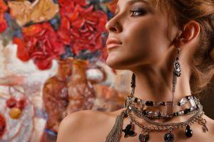 brunette face necklace necks women looking away