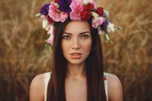 brunette face women women outdoors wreaths flowers model ukrainian