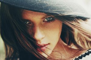 brunette freckles blue eyes model face juicy lips looking at viewer women portrait