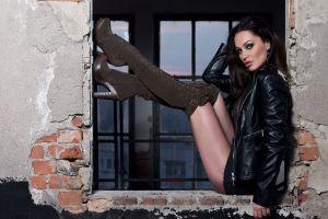 brunette leather jackets women minidress women outdoors legs up knee-high boots