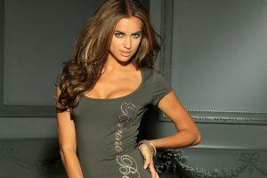 brunette long hair model green eyes irina shayk women dress
