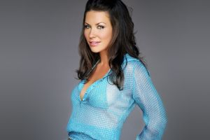 brunette looking at viewer celebrity brown eyes blouses model bikini simple background women evangeline lilly actress see-through clothing cyan