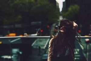 brunette outdoors hair in face depth of field dark urban long hair women outdoors cityscape red lipstick model women