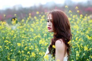 brunette red lipstick asian long hair nature women field