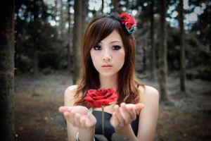 brunette women flowers model mikako zhang kaijie asian