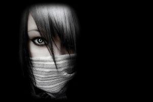 brunette women mask face emo