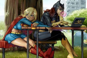 bubble gum cape dc comics boots batgirl trees mask superheroines artwork national park supergirl chair laptop