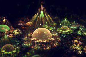 bubbles lights colorful abstract fantasy art artwork digital art