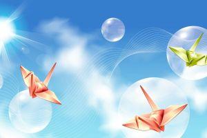 bubbles paper cranes lens flare vector art