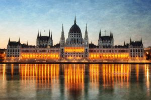 budapest reflection cityscape hungarian parliament building