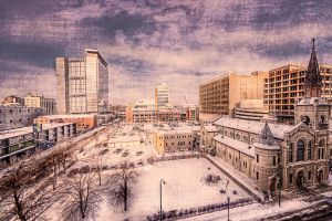 building church snow cityscape