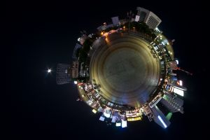 building panoramic sphere night
