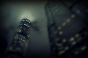 building skyscraper dark worm's eye view