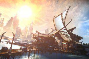 bulletstorm futuristic city video games digital art