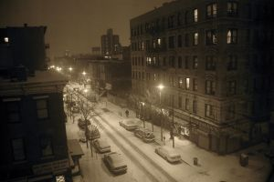 calm winter sepia cityscape old building new york city night street city snow