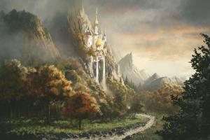 canterlot artwork landscape trees fantasy art castle