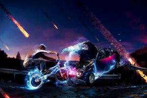 car bmx meteors bicycle digital art collision vehicle crash fire