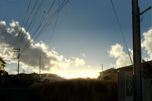 car clouds sky power lines