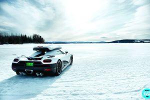 car koenigsegg agera r supercars snow landscape trees koenigsegg