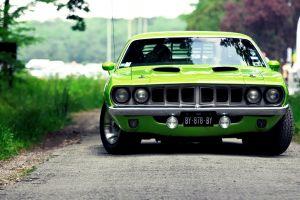 car muscle cars green cars vehicle hemi cuda green