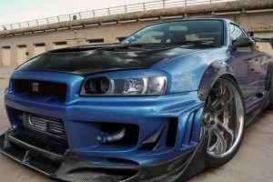 car nissan tuning nissan skyline gt-r vehicle blue cars