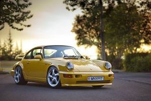 car porsche yellow cars