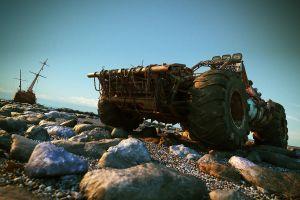car ship stones vehicle