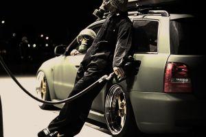 car vehicle audi gas masks people